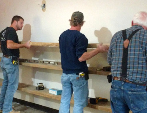 Installing Reclaimed Shelving for a Local Store